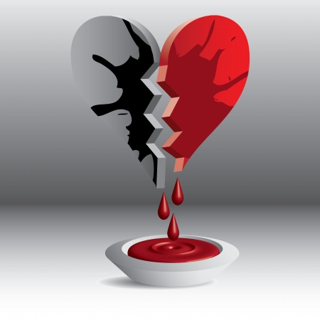 broken love: 3D broken heart illustration blood