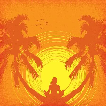 Fond d'été tropical avec une fille dans le yoga Illustration