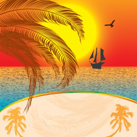 Summer sunset background with ship Illustration