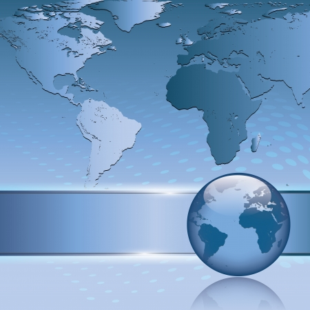 terra: Abstract blue business background with earth map