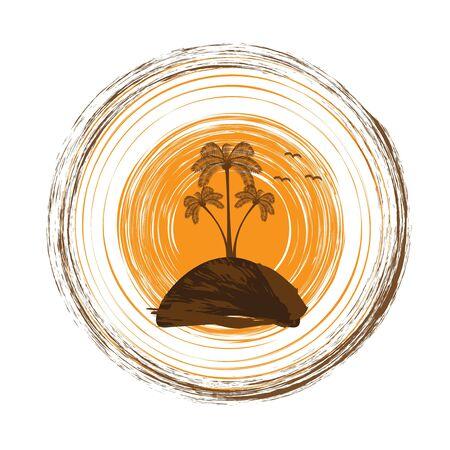 tree logo: Summer tropical palm tree logo Illustration