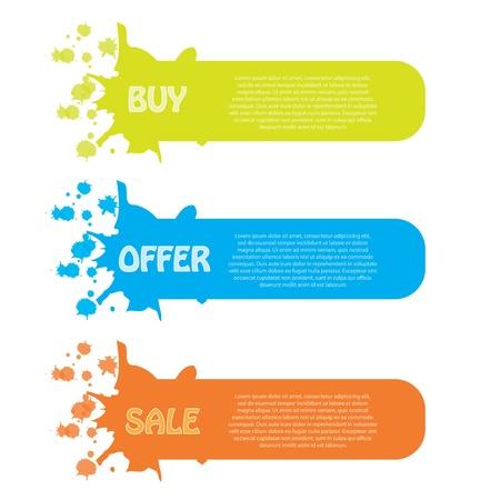 Sale banner set 3 colors Illustration