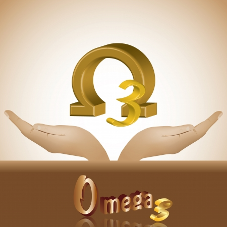 Omega 3 in head product banner 3d Vector