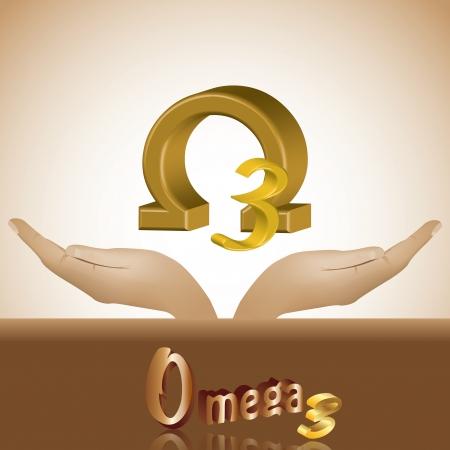 omega: Omega 3 in head product banner 3d Illustration