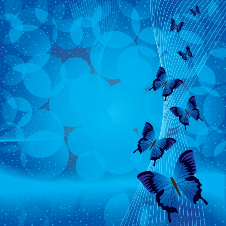 blue butterfly: Blue background with butterfly Illustration
