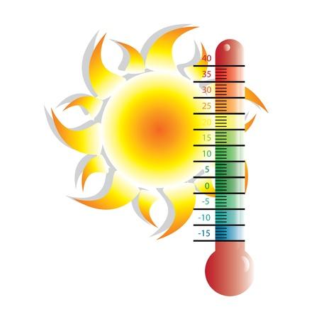 hot temperature: Calor alerta ilustraci�n con el sol Vectores