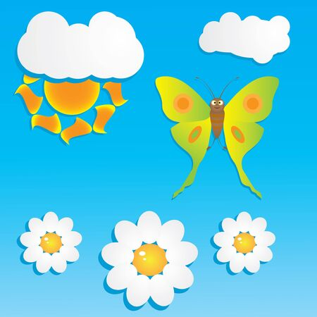 Cartoon background with butterfly and flowers Vector