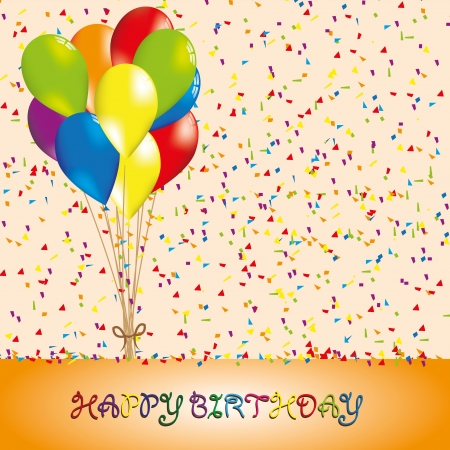 Happy bithday background with balloon Vector