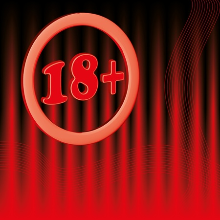 18 age limit round symbol background red Vector