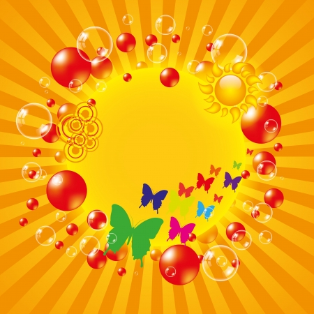 Colorful summer background with bubbles  Vector