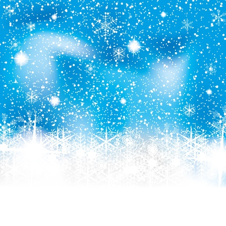 christmas snow: Abstract blue white winter background