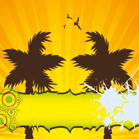 Colorful summer background with palms Vector
