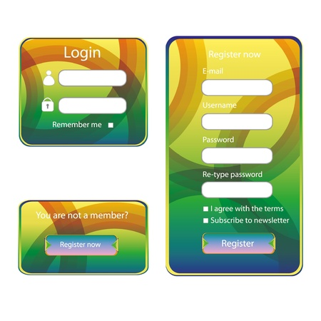 Modern web card login form  Stock Vector - 14941059