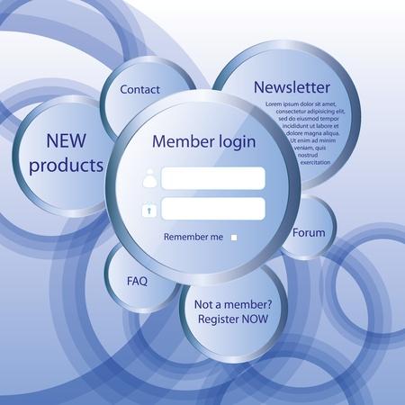 navigation buttons: Modern web card login form  Illustration