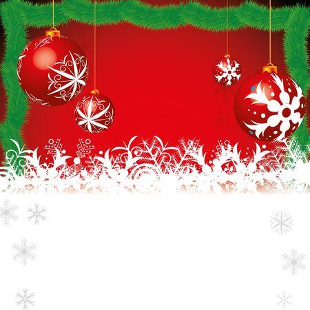 Abstract winter Kerst achtergrond met bal Vector Illustratie