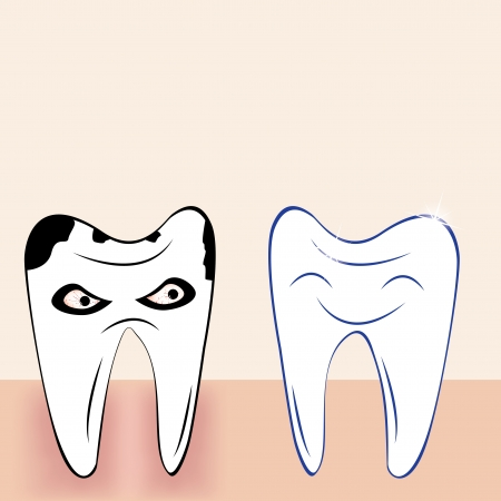 Abstract teeth cartoon dental background Vector