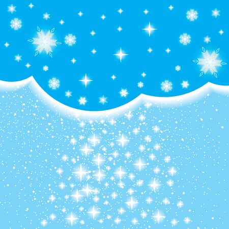 Abstract blue winter background with stars Vector