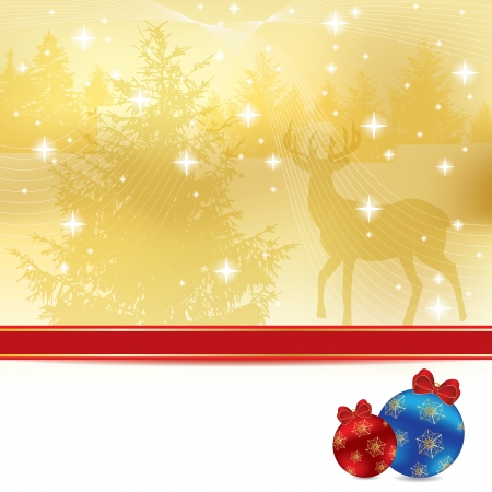 Abstract golden winter Christmas background Illustration