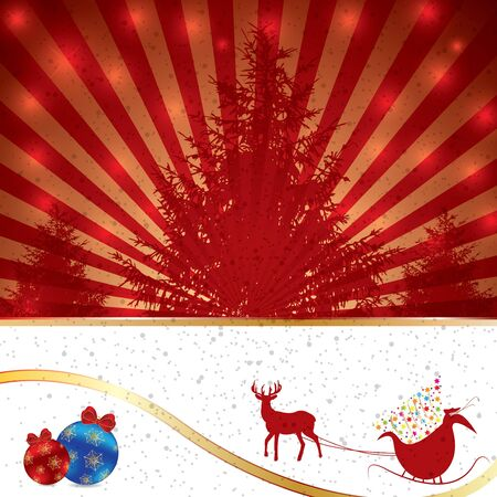 Abstract winter Christmas background with trees Vector