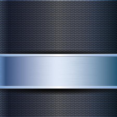 on metal: Resumen de negocios rejilla met�lica azul de fondo