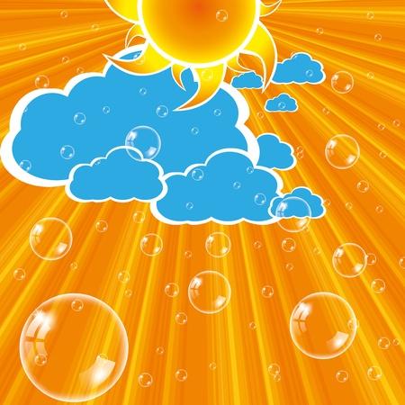 rising temperature: Clouds sun and bubbles