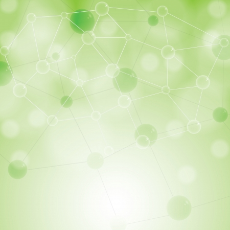 Molecule illustration green background Vector