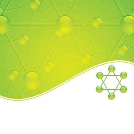 Molecule illustration green background Vectores