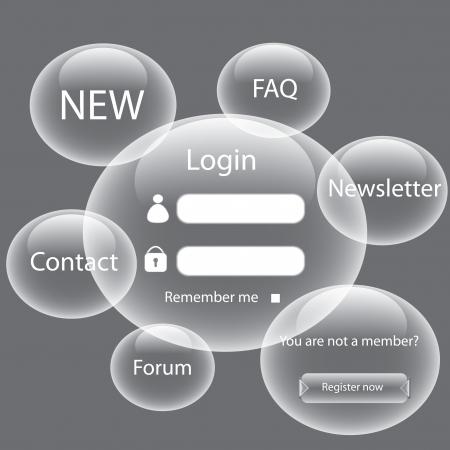 Modern web card login form  Vector