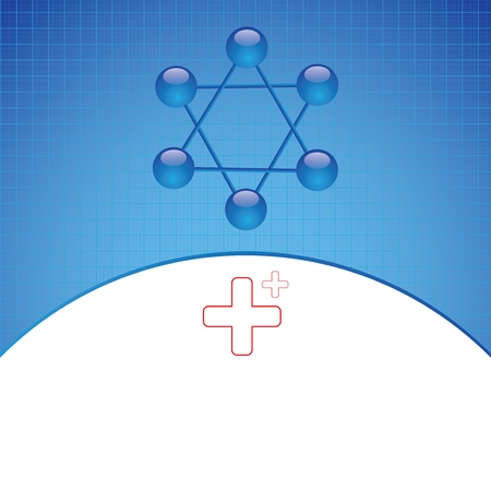 Molecule illustration blue background Vector