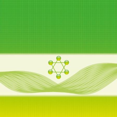 Molecule illustration green background Stock Vector - 16113697