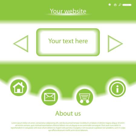 shopping cart button: Vector green website design template Illustration