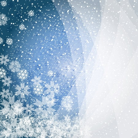 snow fall: Abstract blue winter Christmas background