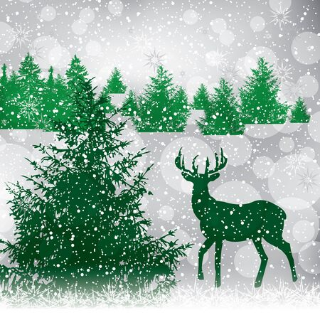 Abstract winter background with pine Vector