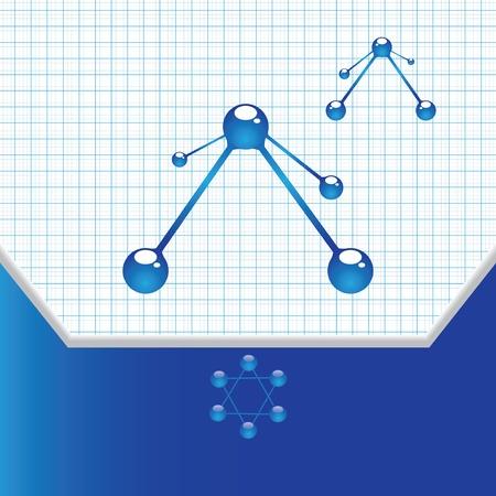 Molecule blue grid background Stock Vector - 16540395
