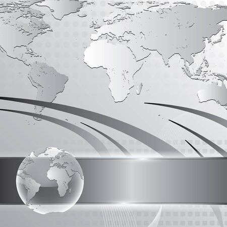 worldmap: Abstract silver business background with earth map Illustration