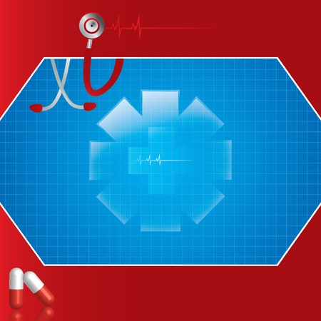 Abstract red blue medical background Stock Vector - 16540879