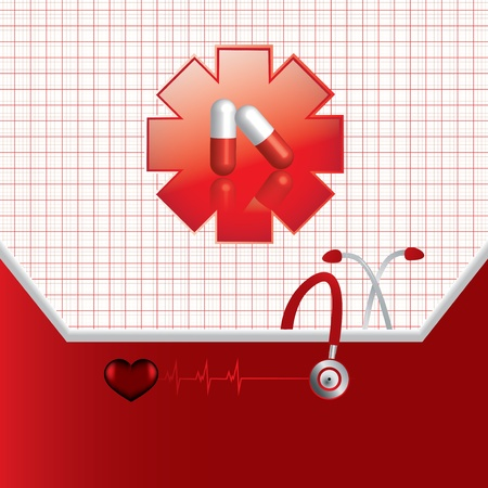 Abstract red medical background Stock Vector - 16540909