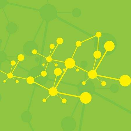 Molecule green background yellow molecules Vector