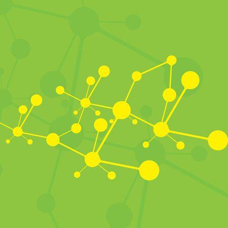 Molecule green background yellow molecules Stock Vector - 16540901