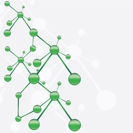structure of a: Abstract molecule green silver background Illustration