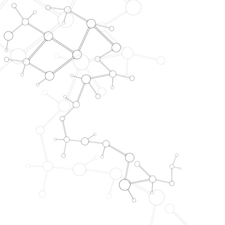 Abstract molecule silver white background  Vector