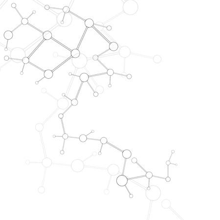 biologia molecular: Plata abstracto mol�cula fondo blanco Vectores