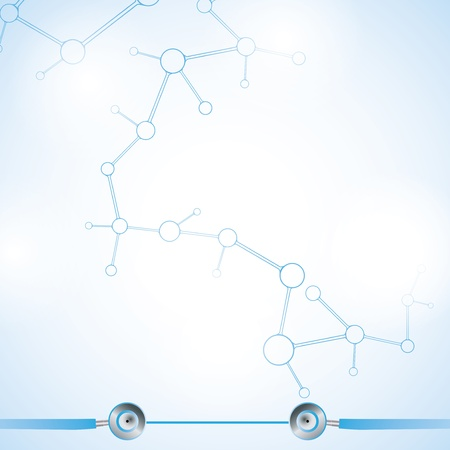 Abstract molecule blue white background  Vector
