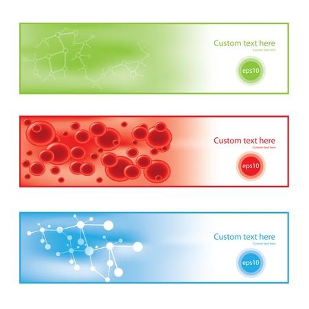 blood flow: Molecola banner sfondo colorato Vettoriali