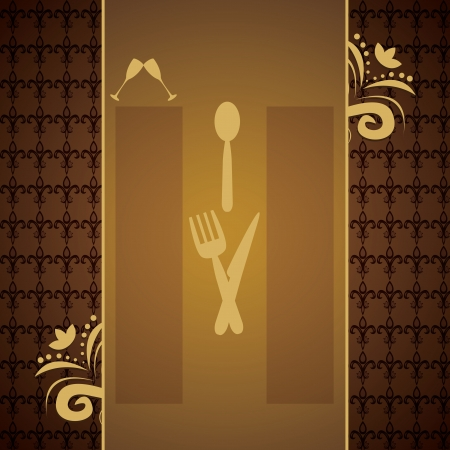 business dinner: Menus and retro business cards for restaurant with brown background