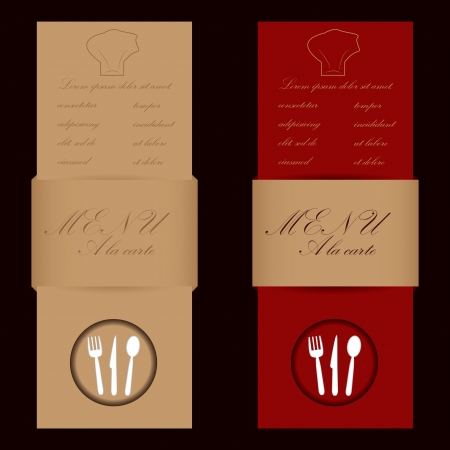 Red and brown menu cards for restaurant Vector