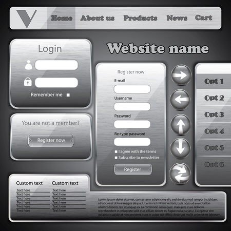 submit: Modern dark silver metal website template form