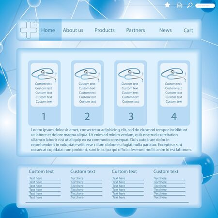 Modern blue medical website template form molecules background Vector