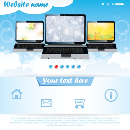 Modern seasonal background website template for laptop company Stock Vector - 16917055