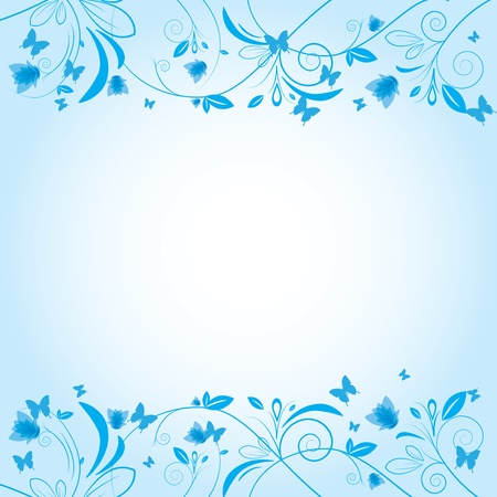 Abstract beautiful flowers creative design blue Vector
